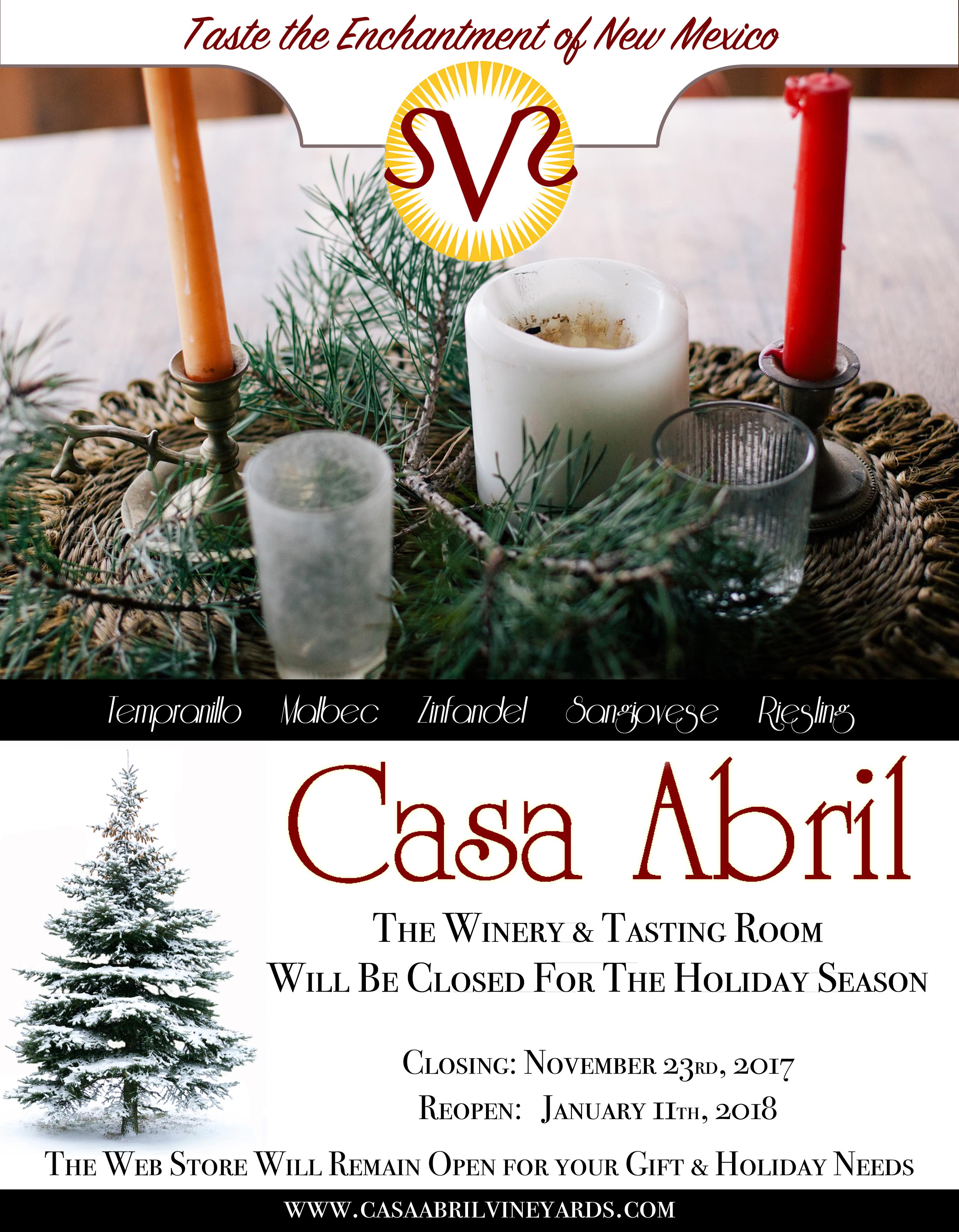Holiday Closing November 23rd through January 11th